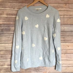 LC Lauren Conrad blue white heart cozy sweater